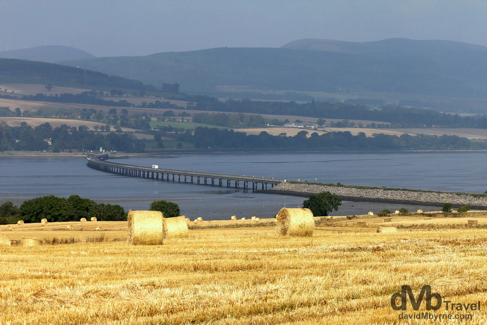 Scenery near the Comarty Bridge crossing Cromarty Forth north of Inverness in Scotland. September 14, 2014.
