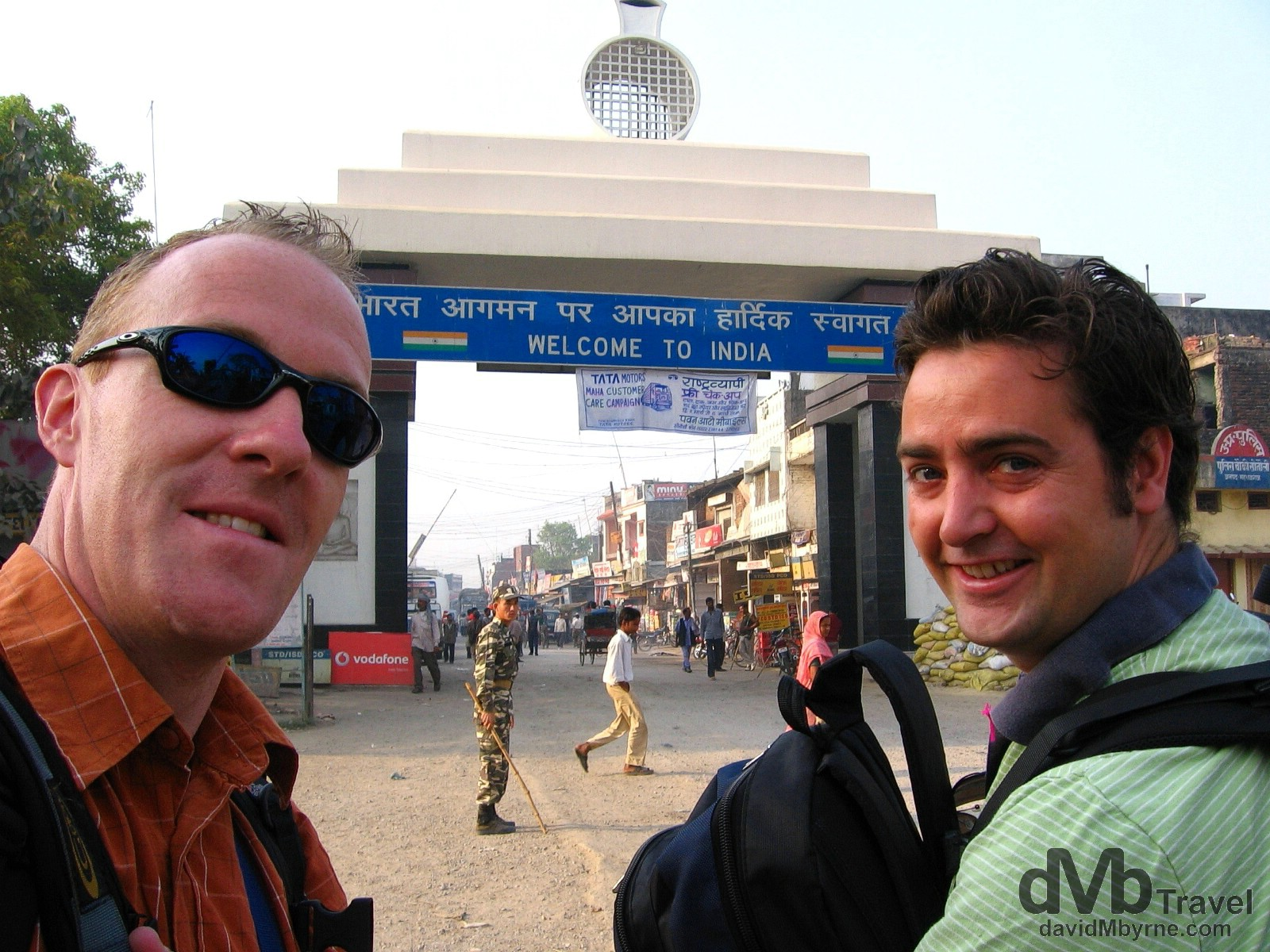 Crossing into India at Sunauli on the Nepal India border. March 16, 2008.