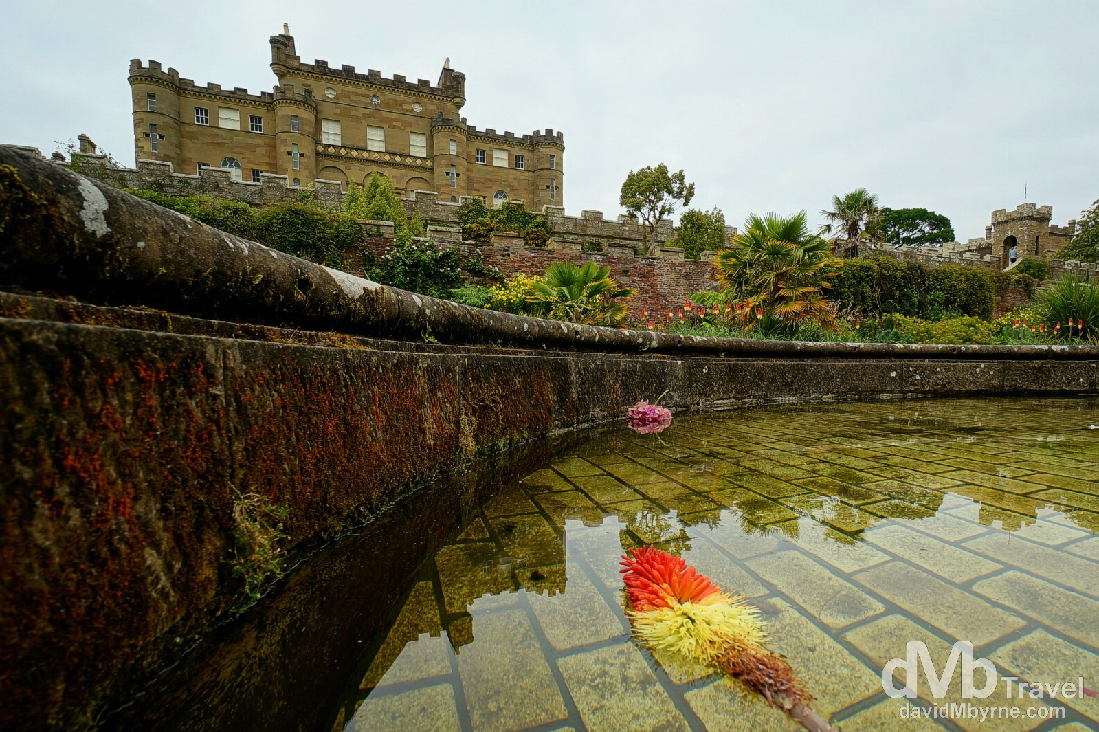 A section of the decorative water fountain fronting Culzean Castle, Ayrshire, Scotland. September 19, 2014.