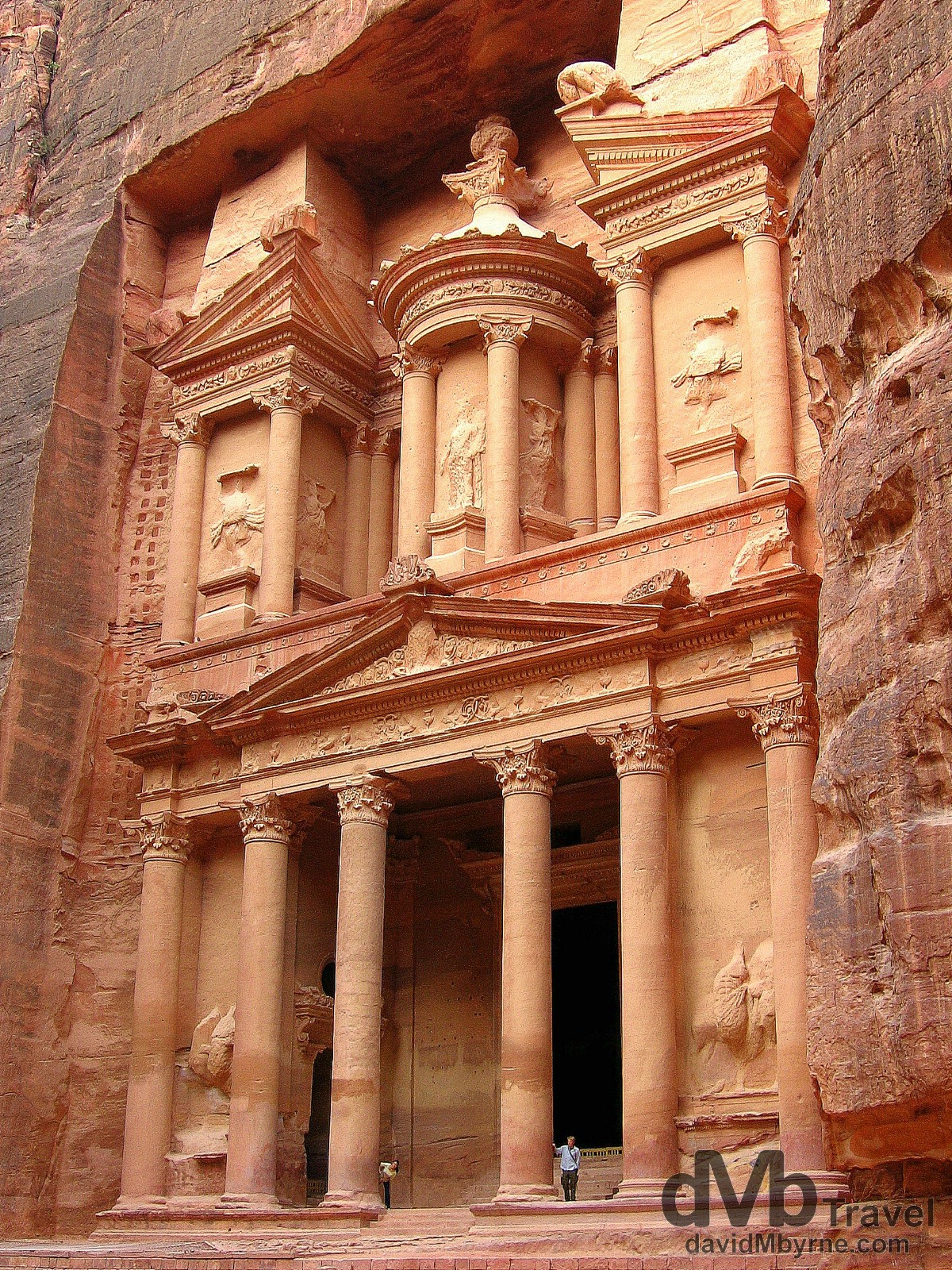 The facade of Al Khazneh (The Treasury), probably the most famous structure in Petra, Jordan. April 27, 2008.