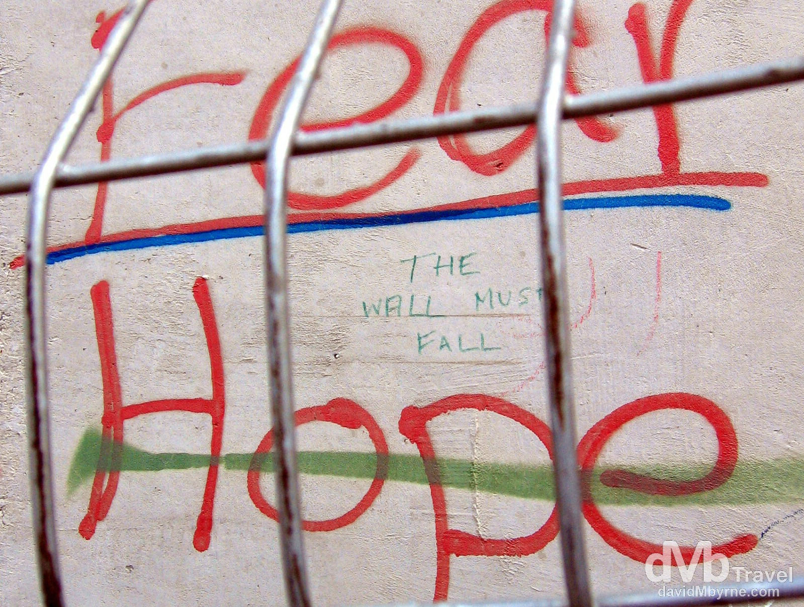 Fear. Hope. A section of the heavily guarded wall separating the Palestinian West Back from Israel. May 2, 2008.