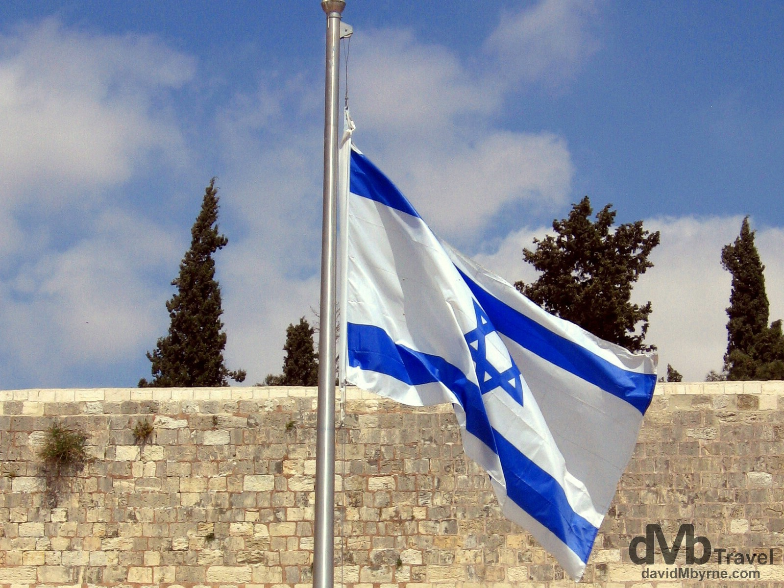 A Israeli flag flying near the Western / Wailing Wall in the Old City of Jerusalem, Israel. May 2, 2008.
