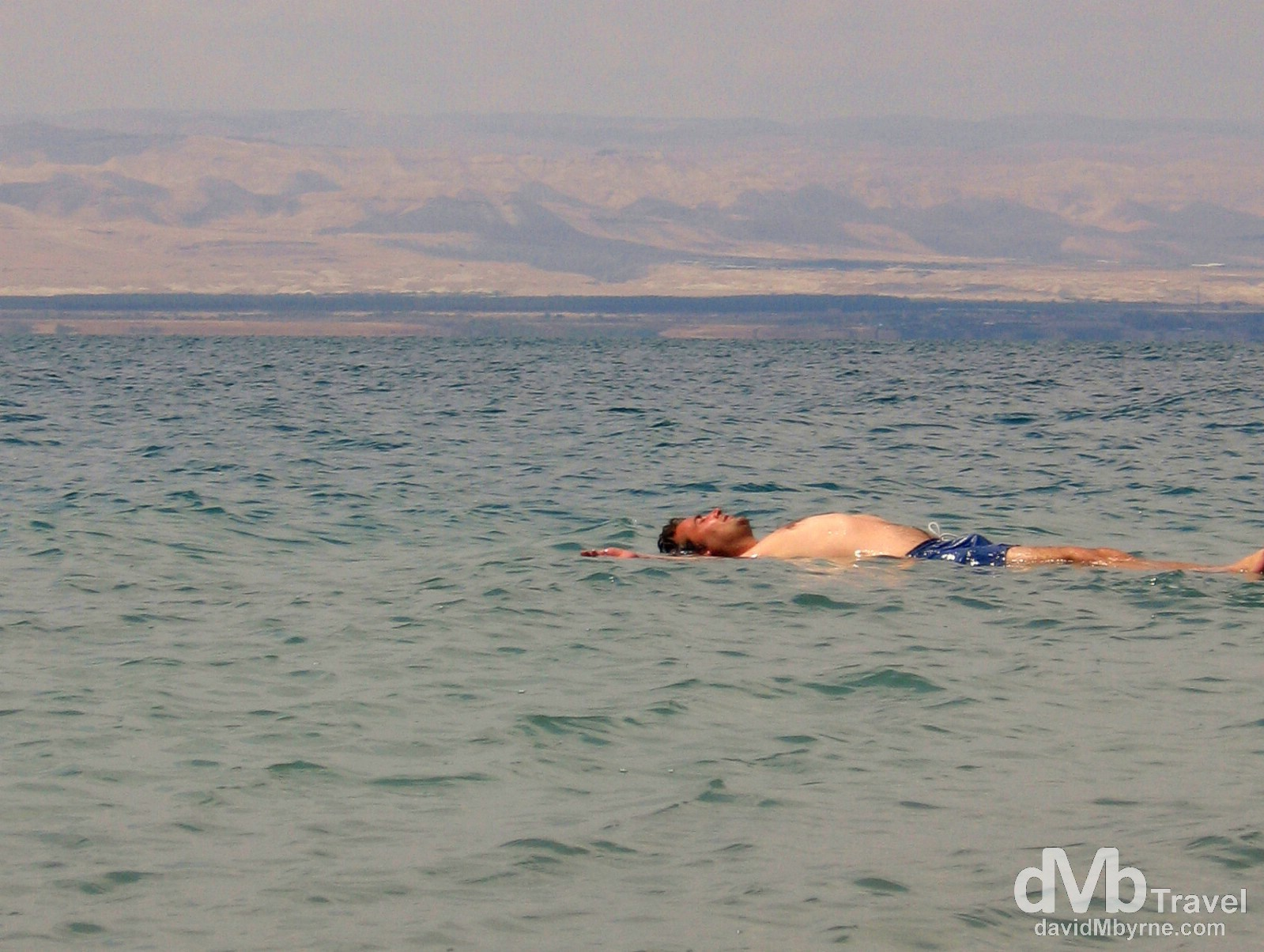 Floating in the Dead Sea in Jordan. April 29, 2008.