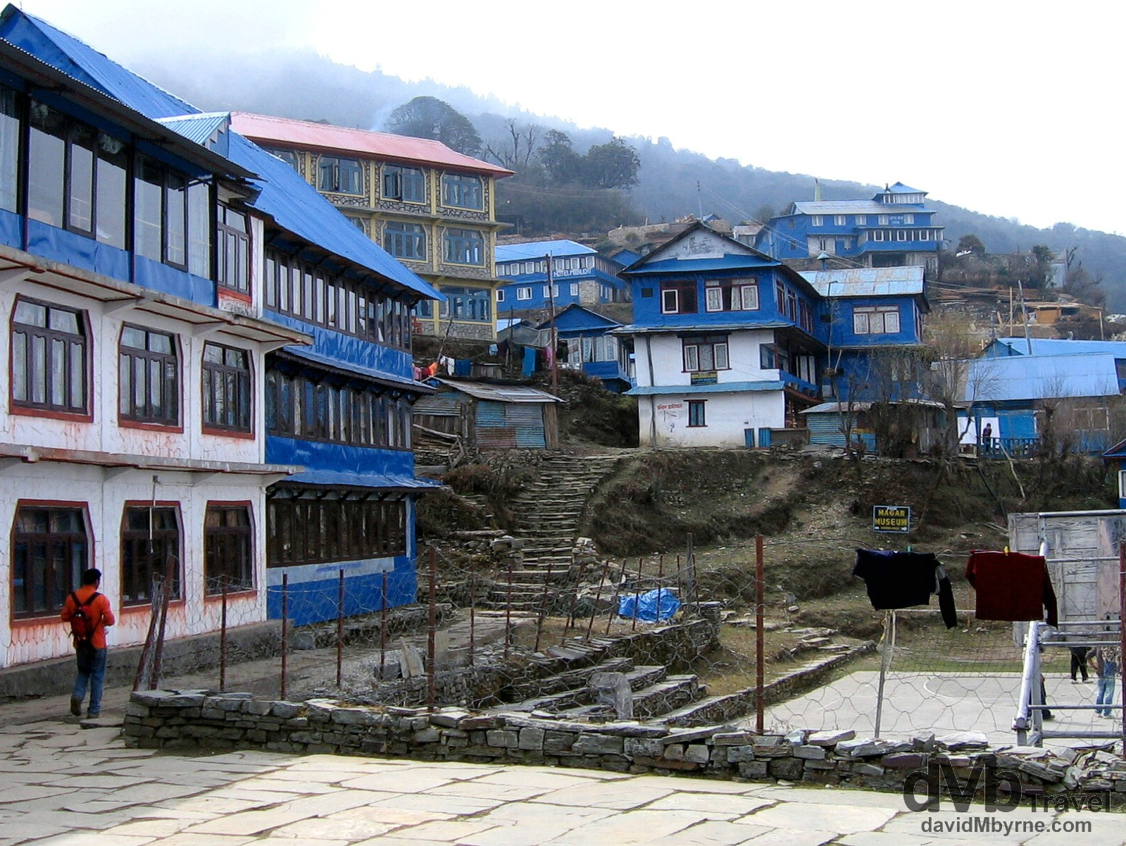 The distinctive blue buildings of Ghorepani village in the Annapurna Conservation Area, western Nepal, the overnight location for day 2 of the region's 3-day Poon Hill trek. March 12th, 2008.