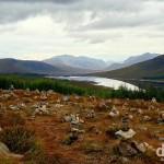 Memorial rocks on a hill overlooking Glen Shiel, Highlands, Scotland. September 16, 2014.