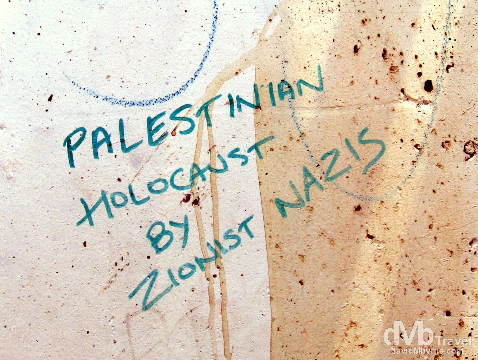 Palestinian Holocaust. A section of the heavily guarded wall separating the Palestinian West Back from Israel. May 2, 2008.
