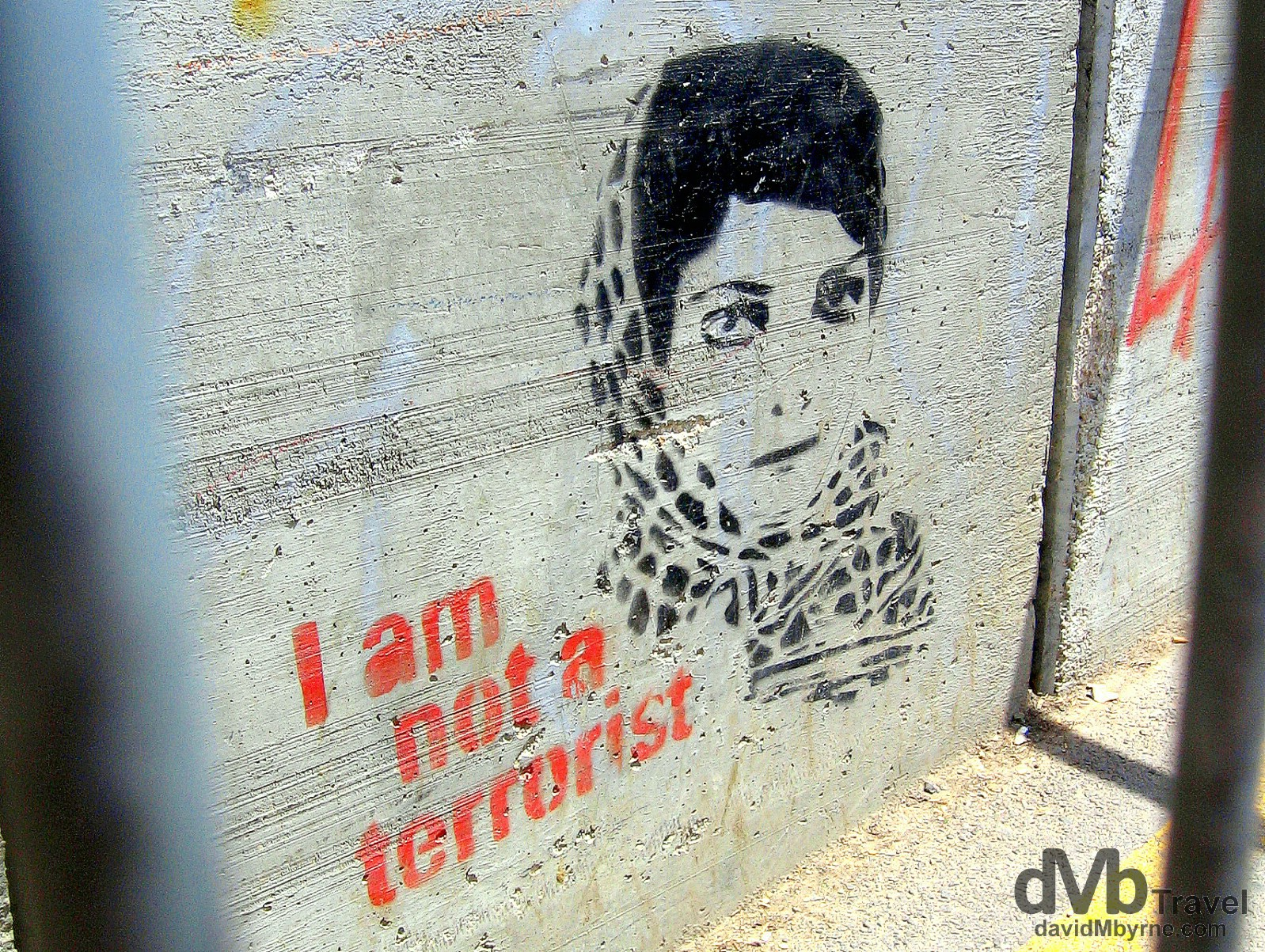 I am not a terrorist. A section of the heavily guarded wall separating the Palestinian West Back from Israel. May 2, 2008.