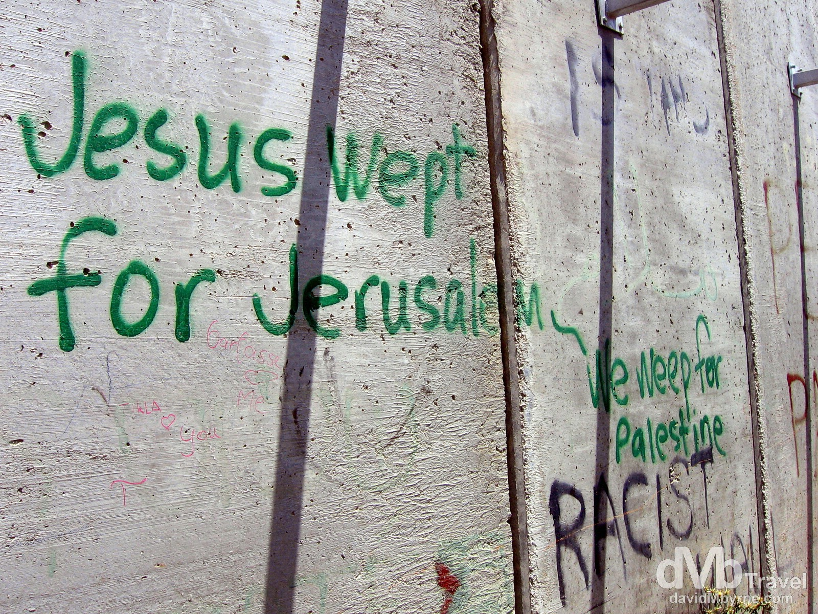 Jesus wept for Jerusalem. A section of the heavily guarded wall separating the Palestinian West Back from Israel. May 2, 2008.