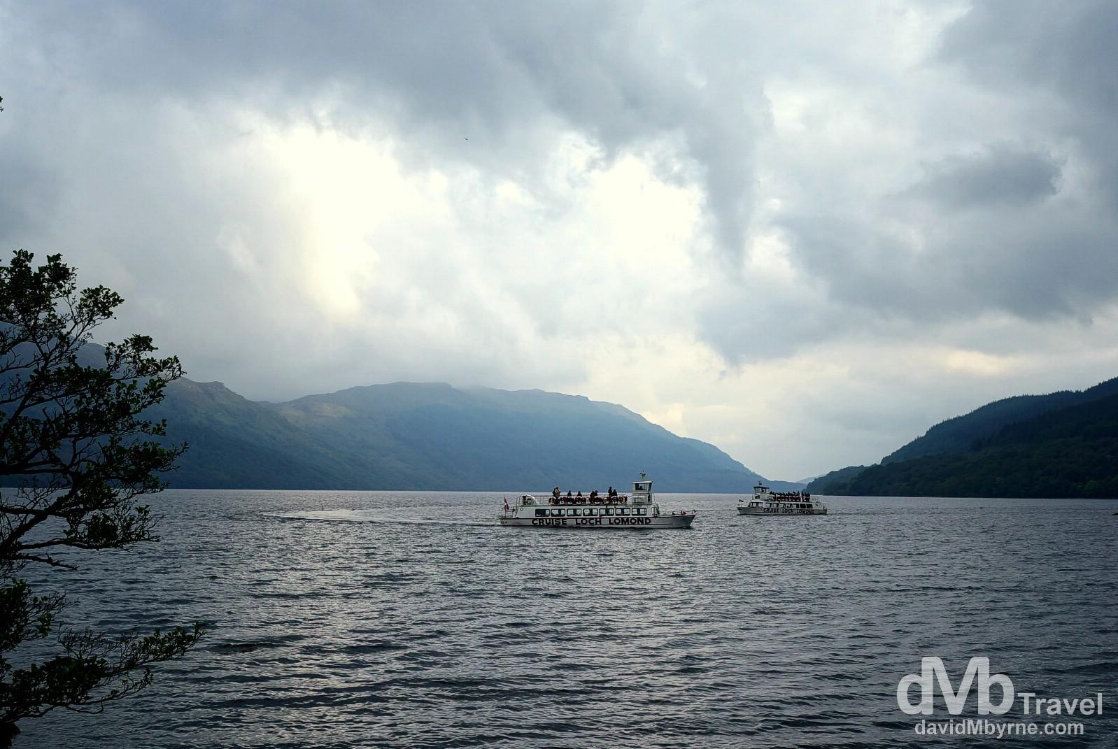 Tour boats on Lock Lomond, Scotland. September 18, 2014.