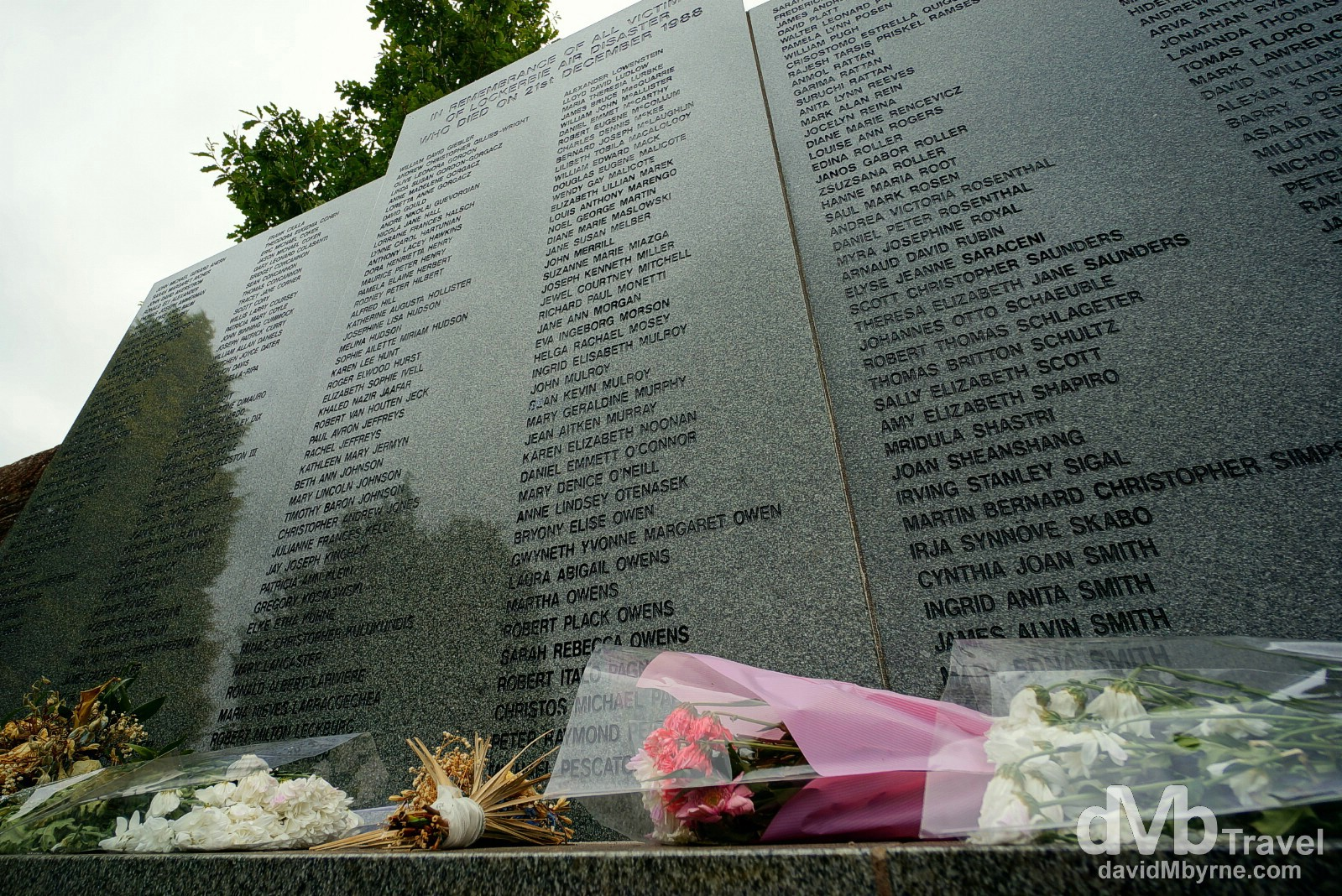 The Lockerbie Air Disaster Memorial in the Garden of Remembrance, Dryfesdale Cemetery, Lockerbie, Dumfries and Galloway, Scotland. September 19, 2014.
