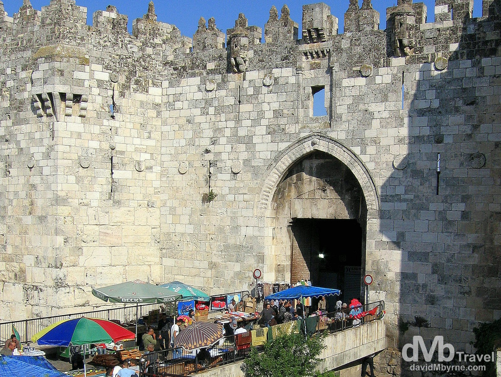 Market stalls outside the Old City wall in Jerusalem, Israel. May 2, 2008.