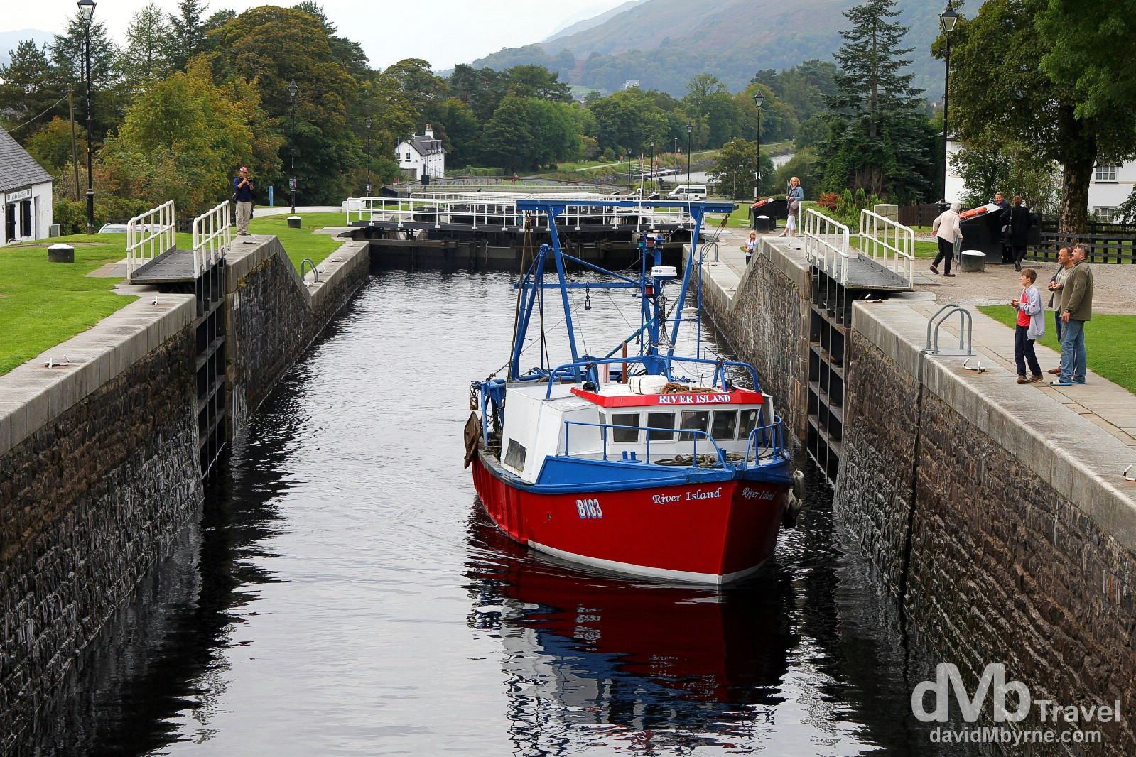 A fishing boat navigating the Neptune's Staircase lock of the Caledonian Canal in Banavie, Scotland. September 18, 2014.