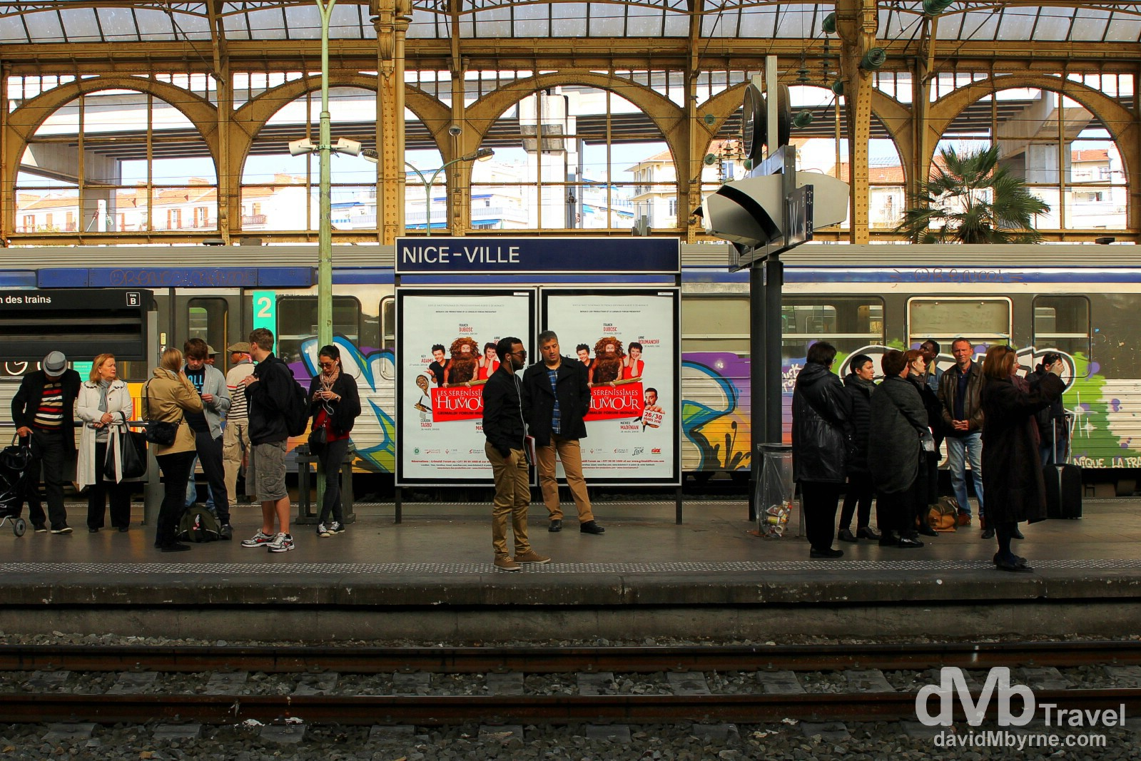 On the platform of Nice Ville train station, Nice, Côte d'Azur, France. March 14, 2014.