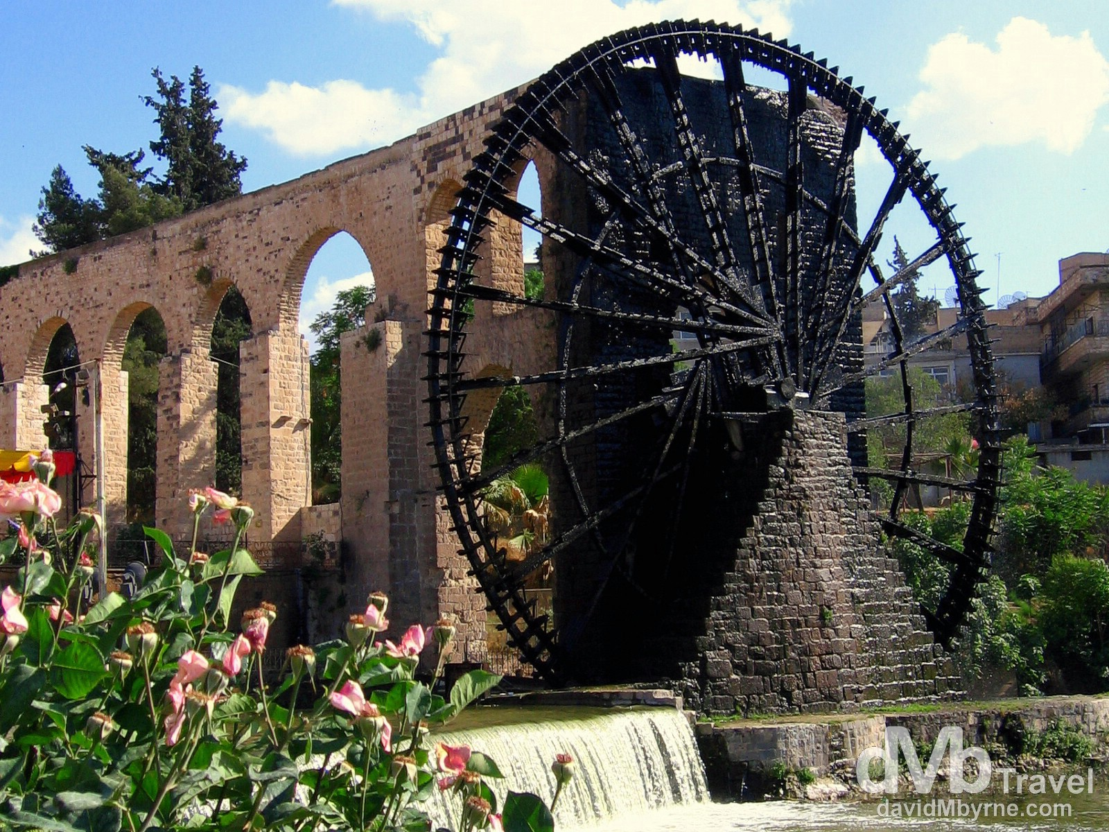 One of the 17 remaining norias ('wheels of pots') on the Orontes river in Hama, Syria. May 6, 2008.