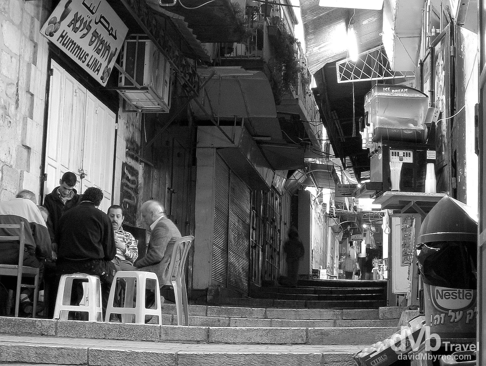 Playing cards in the lanes of the Old City of Jerusalem, Israel. May 2, 2008.
