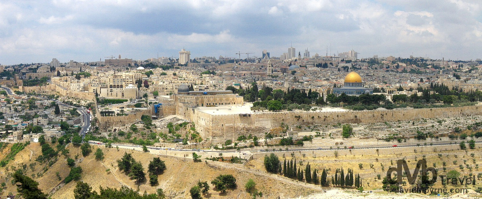 The Old City of Jerusalem as seen from a lookout on the Mount of Olives. Jerusalem, Israel. May 1, 2008.