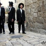 Ultra-orthodox Jews in the lanes of the Old City of Jerusalem, Israel. May 2, 2008.