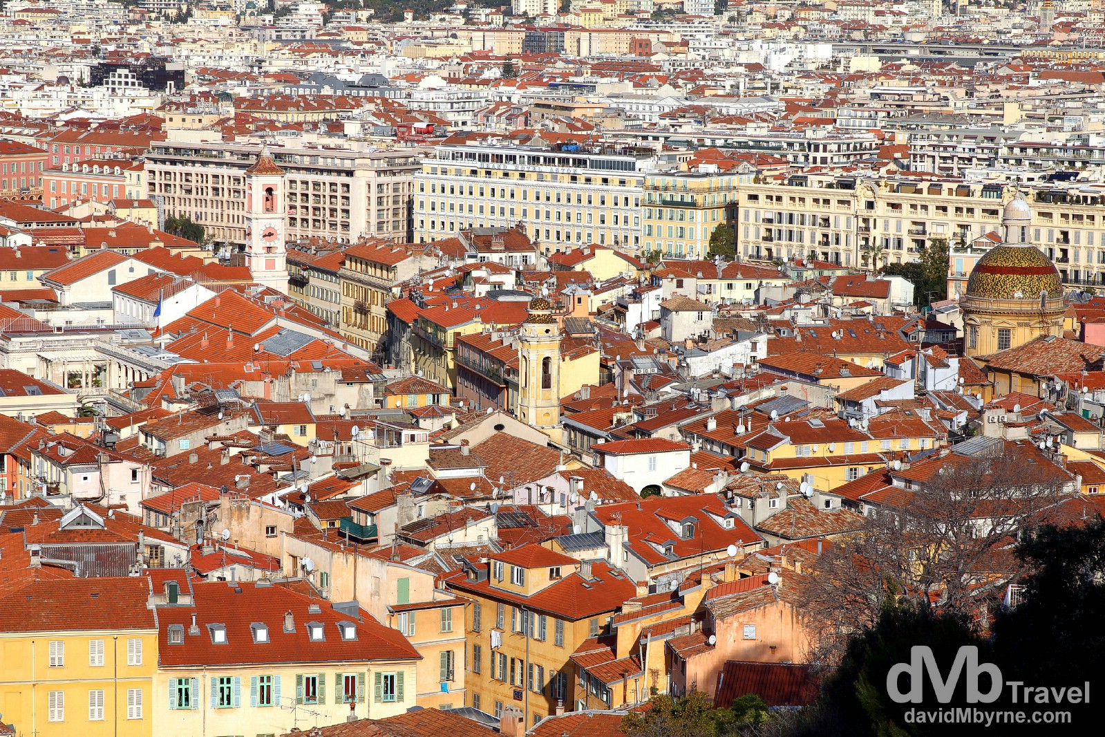 Buildings of Vieux Nice as seen from Parc du Chateau, Nice, Côte d'Azur, France. March 14, 2014.