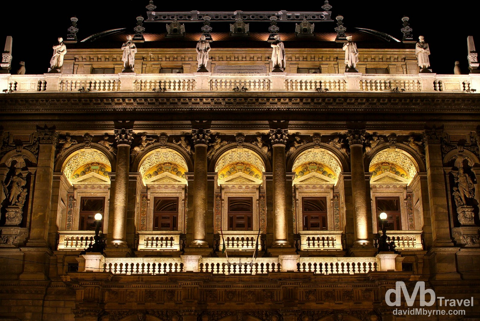 A section of the facade of Hungarian State Opera House in Budapest, Hungary. March 26, 2014.