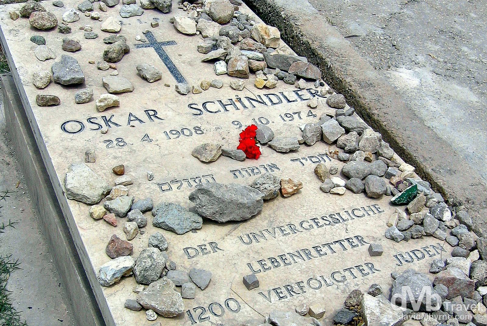 Oskar Schindler's grave in Mount Zion Catholic Cemetery, Jerusalem, Israel. May 1, 2008.