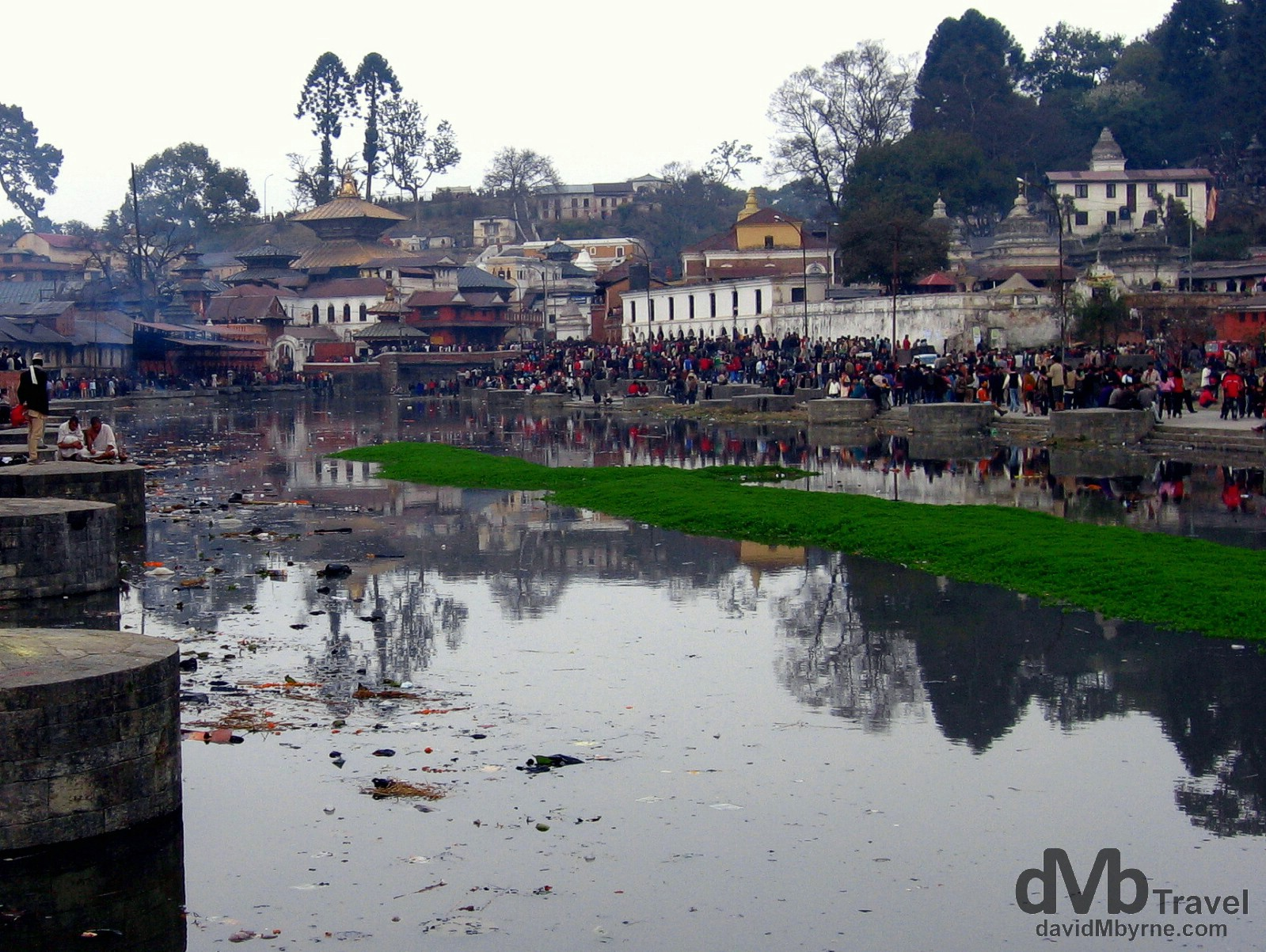 Pashupatinath, the site of the most important Hindi temples in Nepal (gold pagoda in the background), in Kathmandu, Nepal. March 6, 2008.