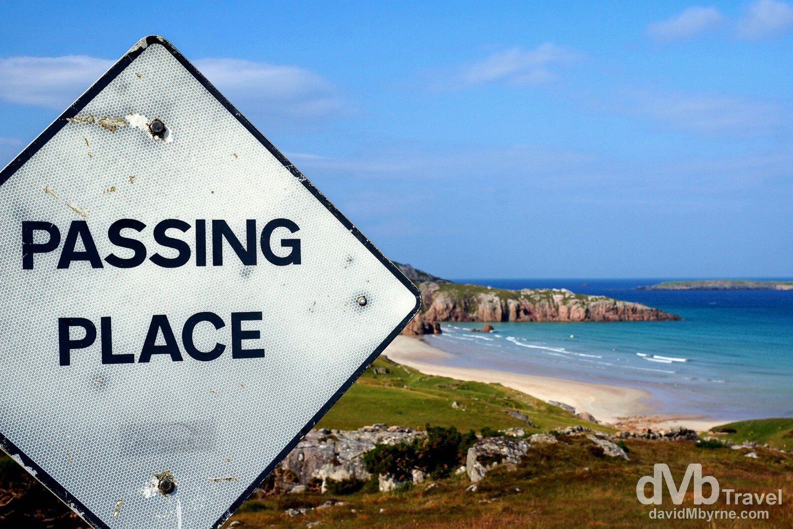 Passing Place sign on the narrow roads of Sutherland, Highland, Scotland. September 15, 2014.