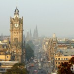Morning activity on Princess Street as seen from Calton Hill in Edinburgh, Scotland. September 13, 2014.