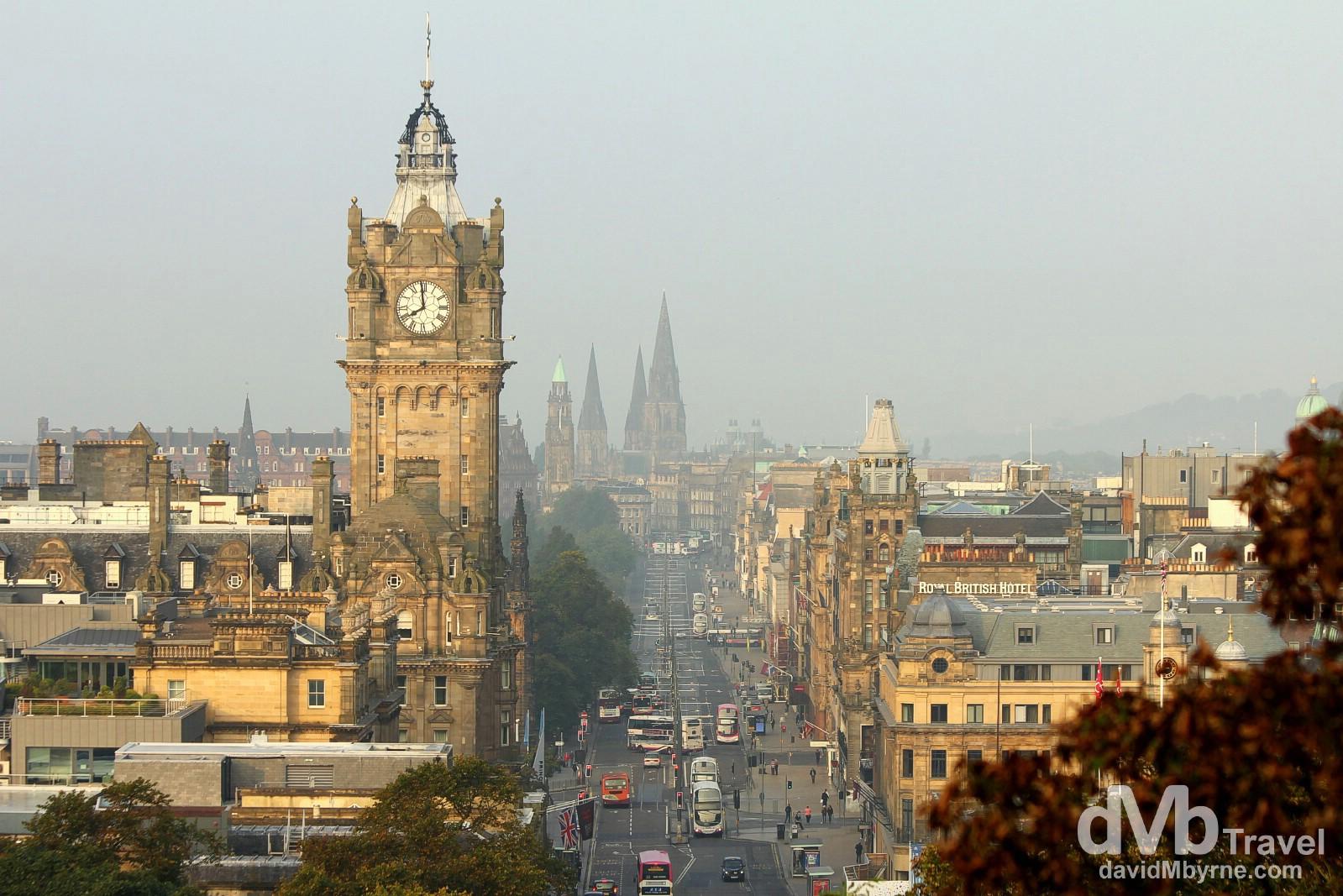 Morning activity on Princess Street as seen from Calton Hill in Edinburgh, Scotland. September 13, 2014.
