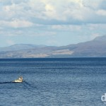 As seen from the Armadale to Mallaig ferry crossing the narrow Sound of Sleat, western Scotland. September 17, 2014.