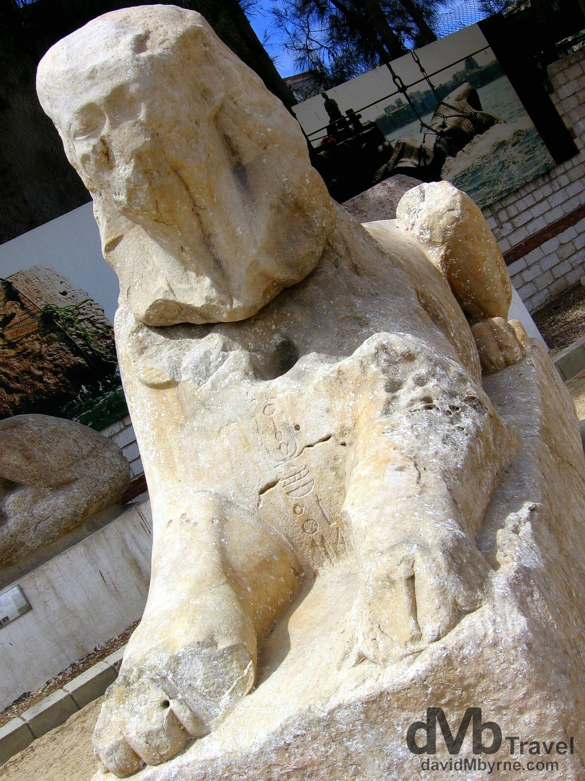 A water worn Sphinx on display in the grounds of the Roman Amphitheater in Alexandria, Egypt. April 16, 2008.