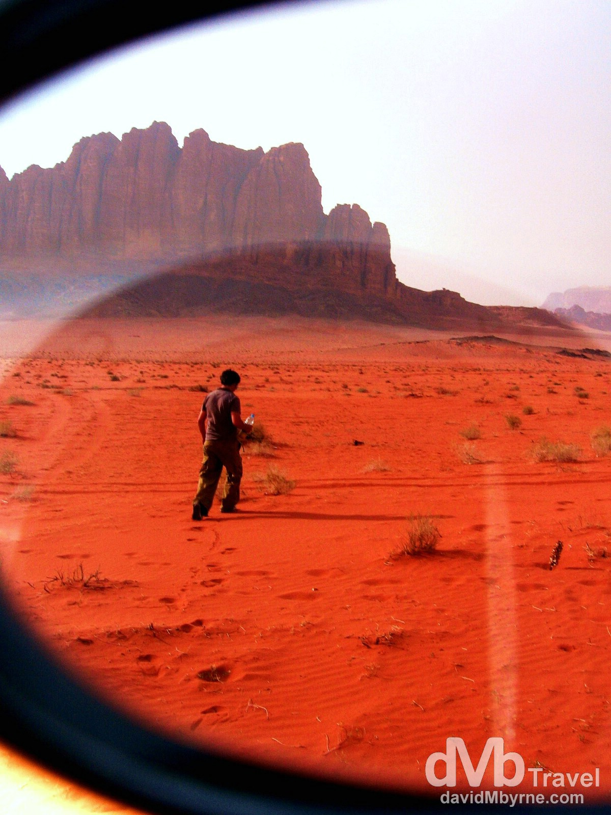 Breaking out over the red sands of Wadi Rum, Jordan, as seen through sunglasses. April 25, 2008.