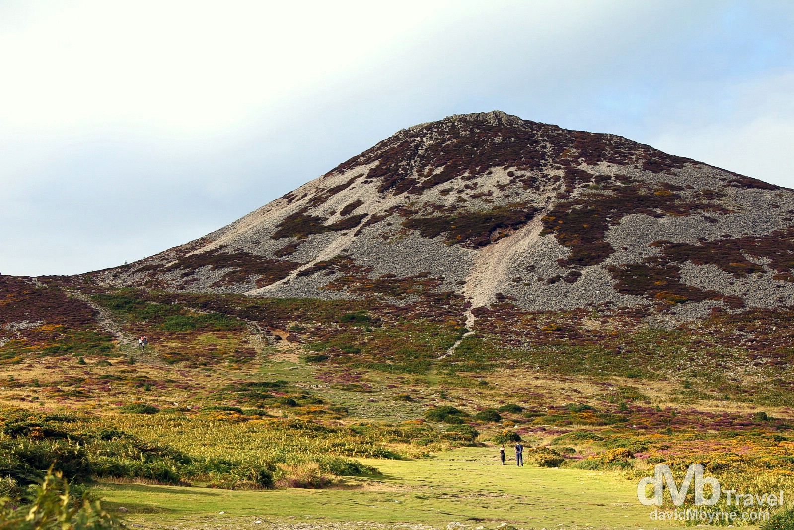 Walking towards the Great Sugar Loaf in Co. Wicklow, Ireland. August 31, 2014.