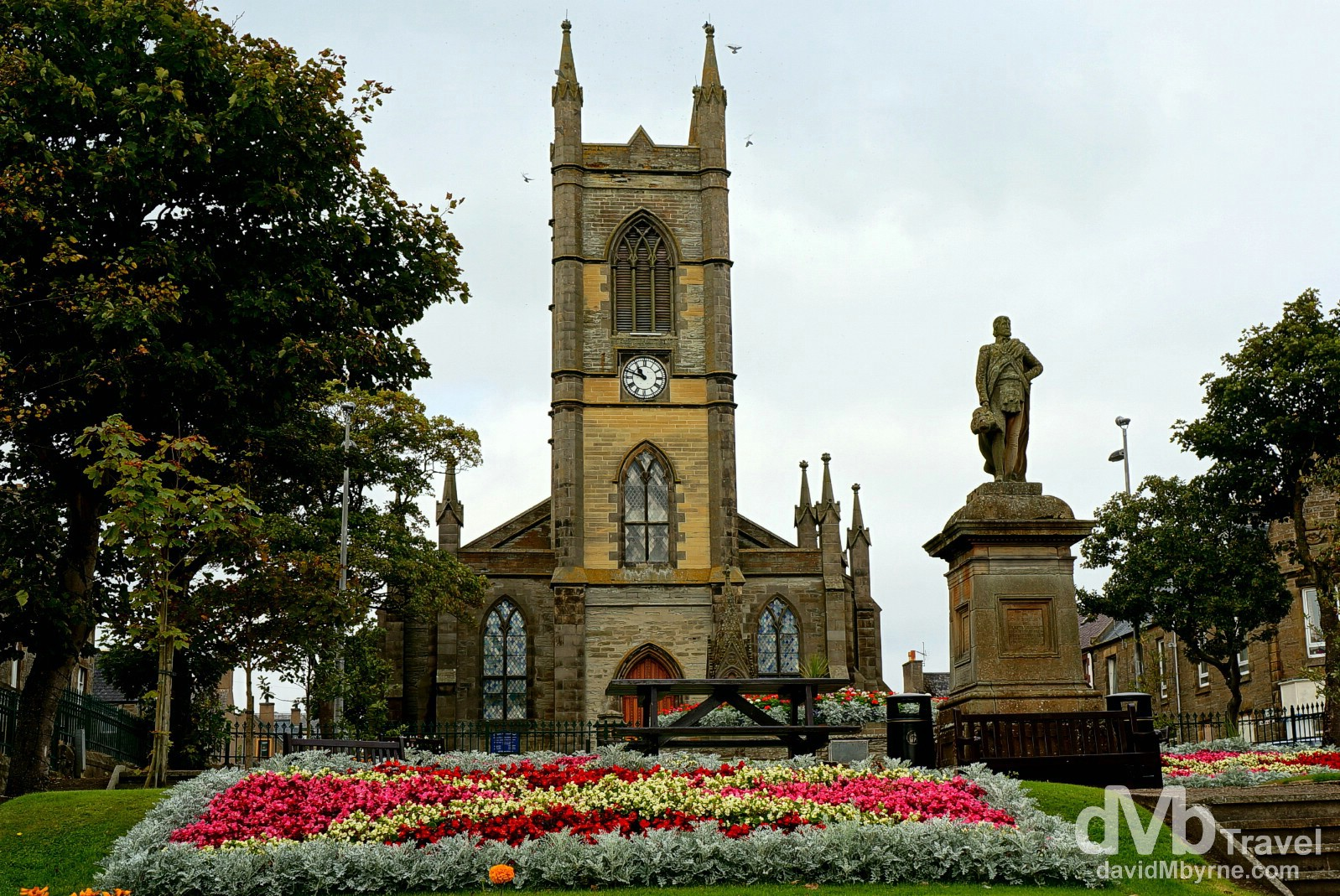 St. Peter's & St. Andrew's Church overlooking Sir John Square in Thurso, Caithness, Highland, Scotland. September 15, 2014.