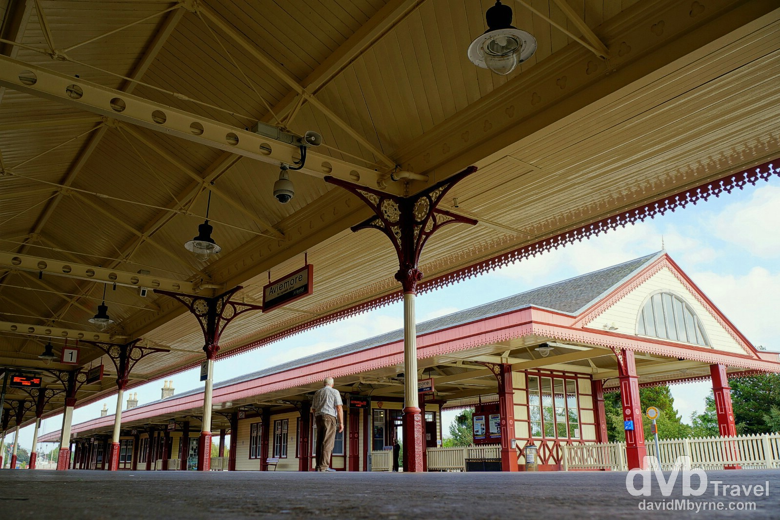 On the platform of the gorgeous Victorian era train station in Aviemore, Scotland. September 14, 2014.
