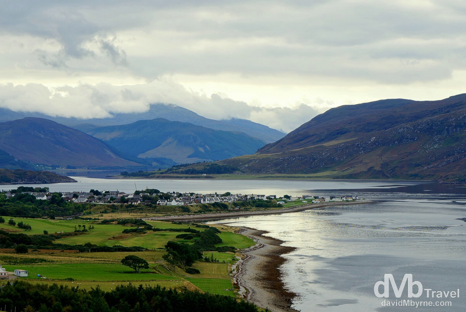 The town of Ullapool on the eastern shore of Lock Broom as seen from the A835 entering town. Highlands, Scotland. September 16, 2014.