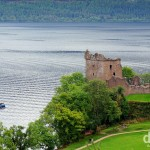 The ruins of Urquhart Castle on the shores of Loch Ness, Highland, Scotland. September 16, 2014.