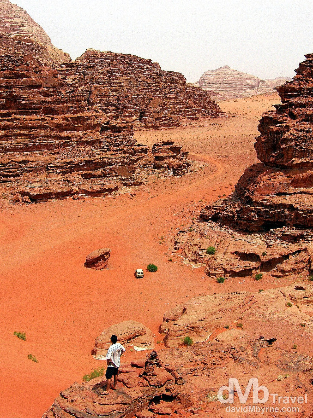 Taking in the splendour of Wadi Rum, Jordan. April 25, 2008.