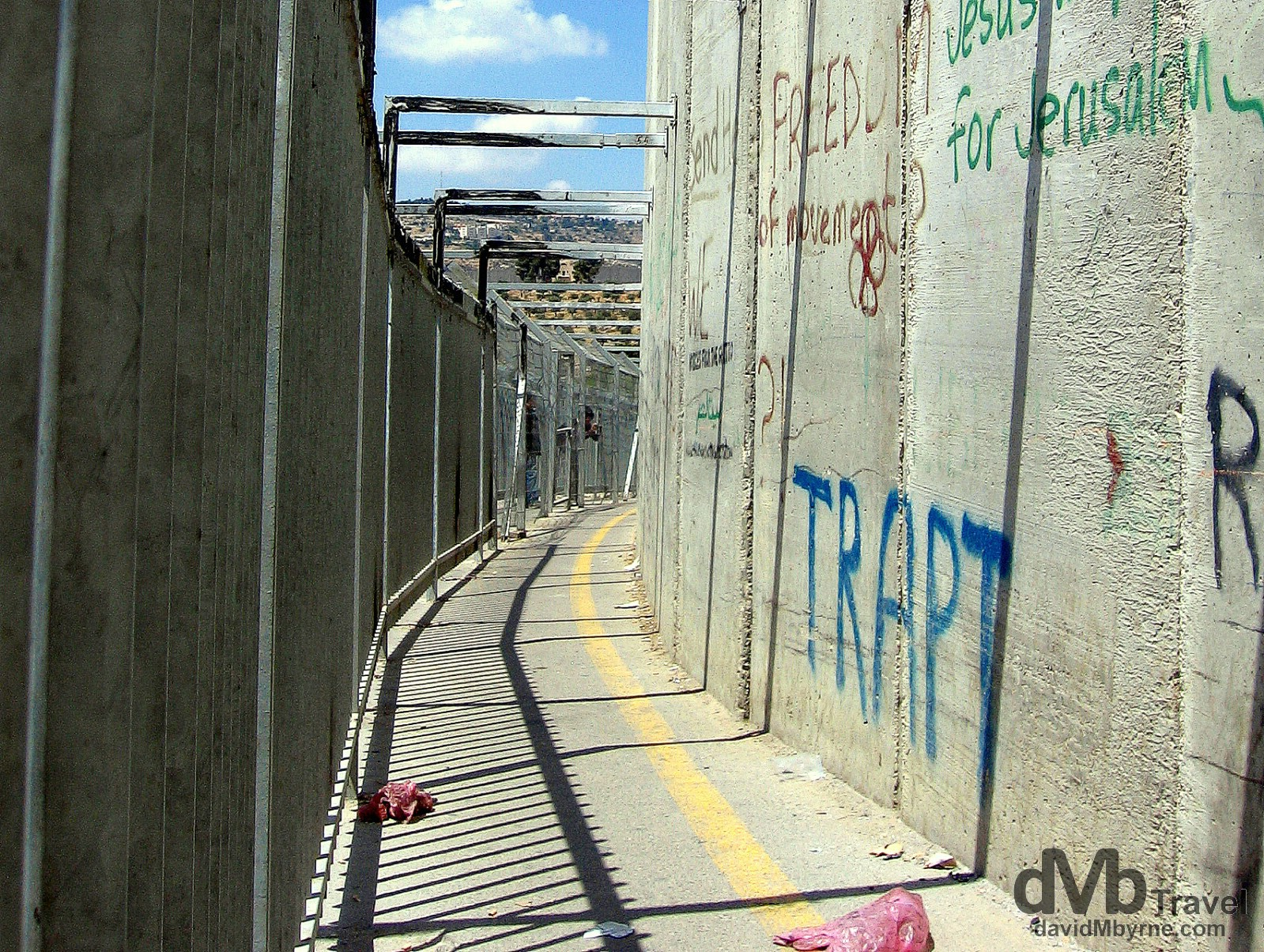 A section of the heavily guarded wall separating the Palestinian West Back from Israel. May 2, 2008.