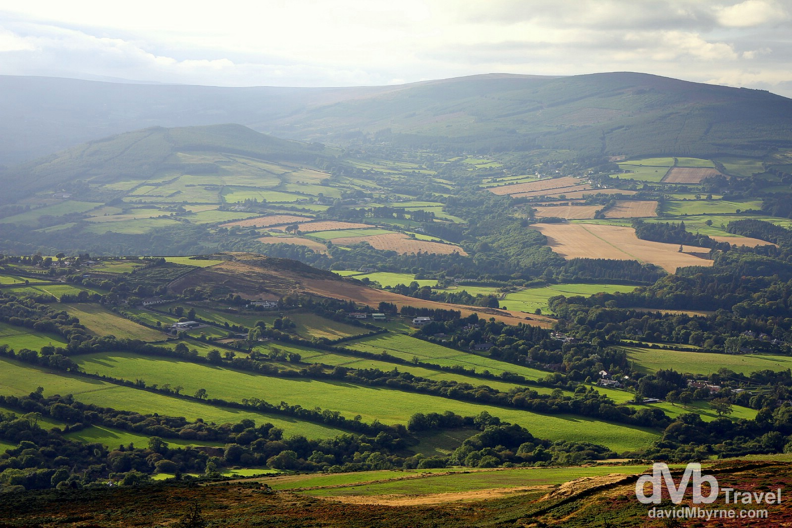 The Wicklow countryside as seen from atop the Sugar Loaf in Co. Wicklow, Ireland. August 31, 2014.