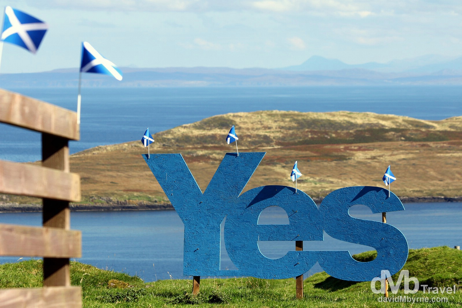 It's a big 'Yes' at the tip of the Trotternish peninsula on the Isle of Skye, Scotland. September 17, 2014.
