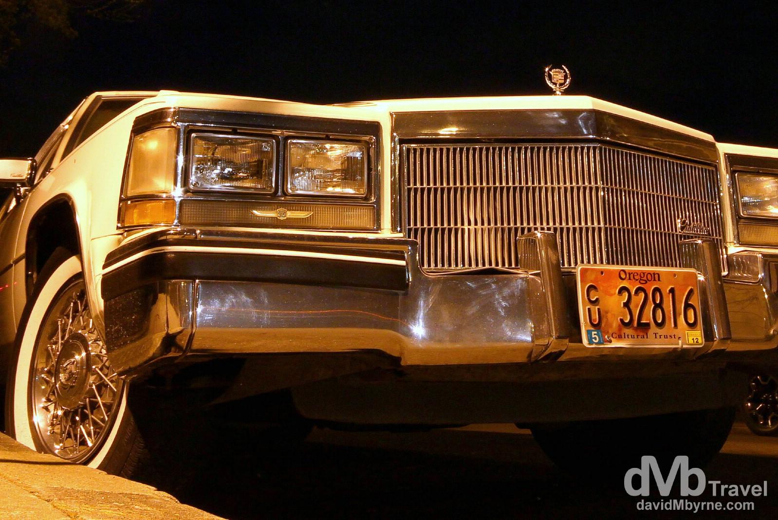 A Cadillac off Alberta street in the Alberta Arts District in Portland, Oregon, USA. March 28, 2013.