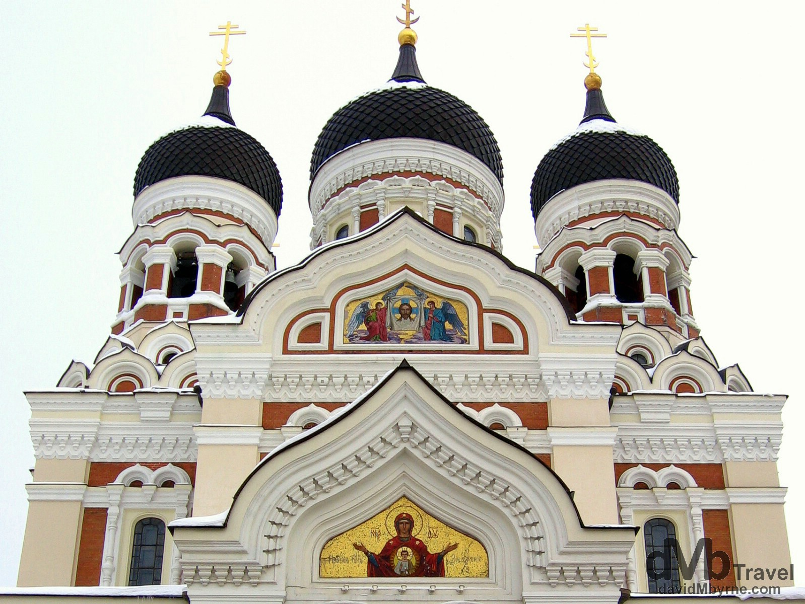 The facade of the Alexander Nevsky Cathedral, the largest and grandest orthodox church in the Old Town of Tallinn, Estonia. March 2, 2006.
