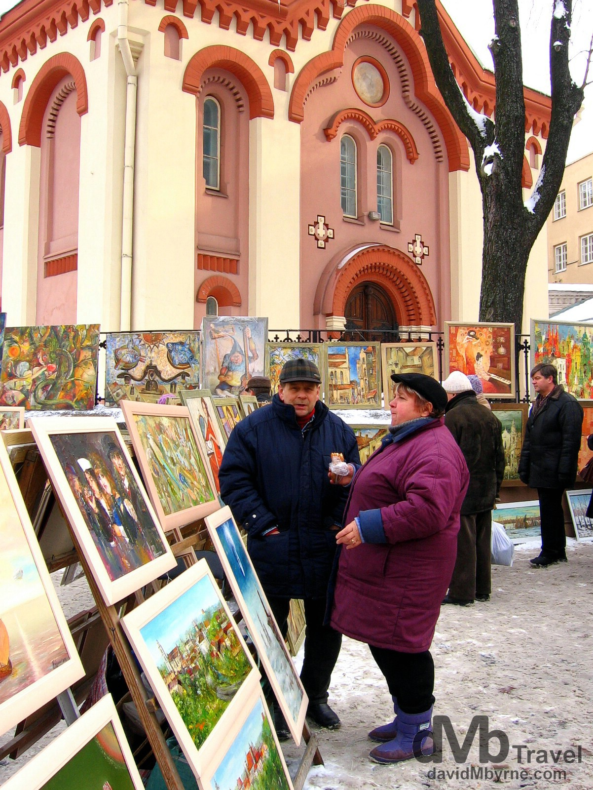 Art for sale on the streets of Vilnius, Lithuania. March 4, 2006.