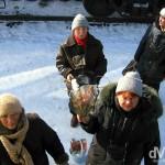 Babushkas on the platform of the Siberian town of Slyudyanka en route from Ulan Bator, Mongolia, to Irkutsk, Russia. February 17, 2006.