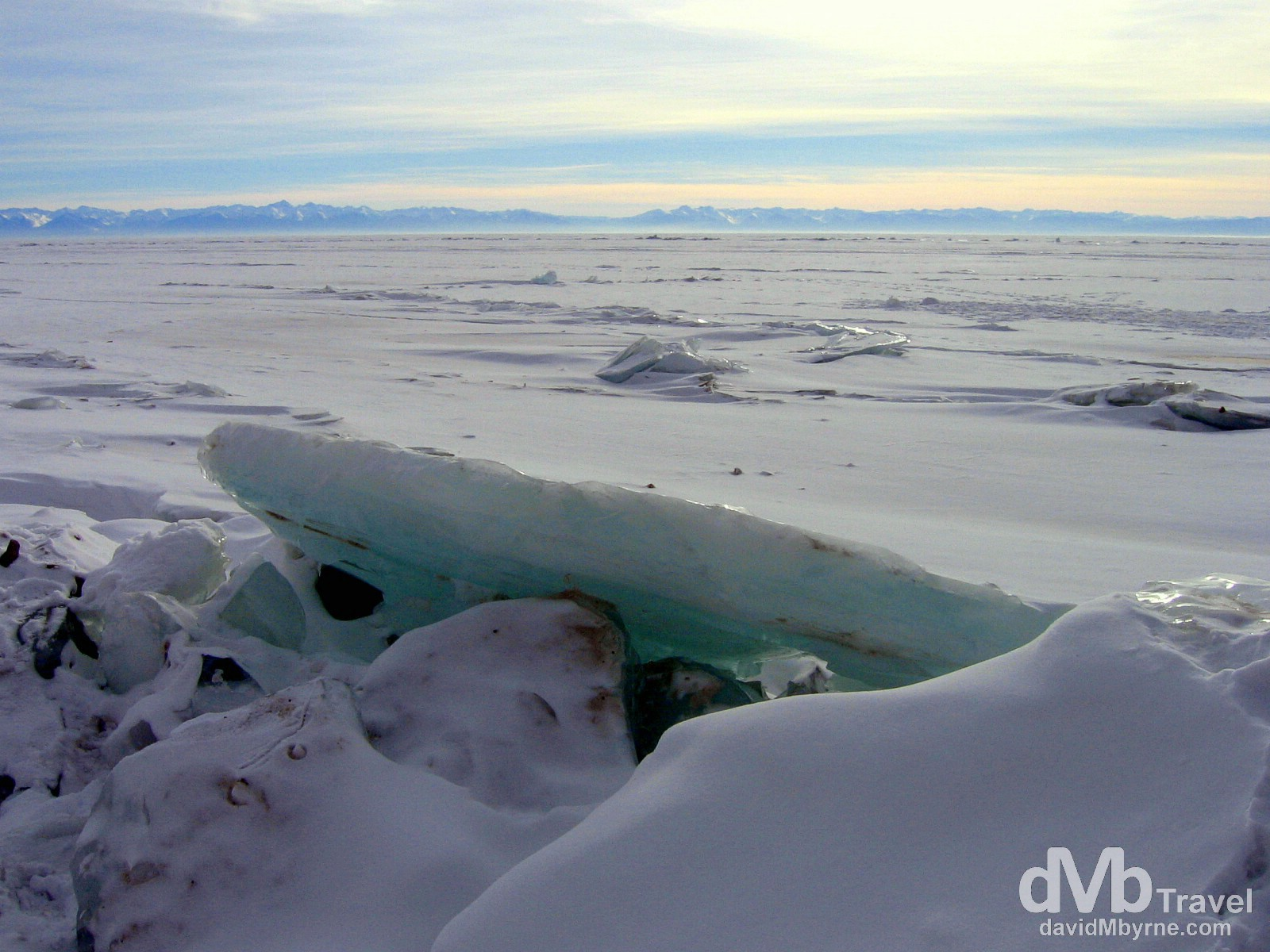 Huge chunks of crystal blue ice protruding from the surface of a frozen Lake Baikal in Siberian Russia. February 18, 2006.