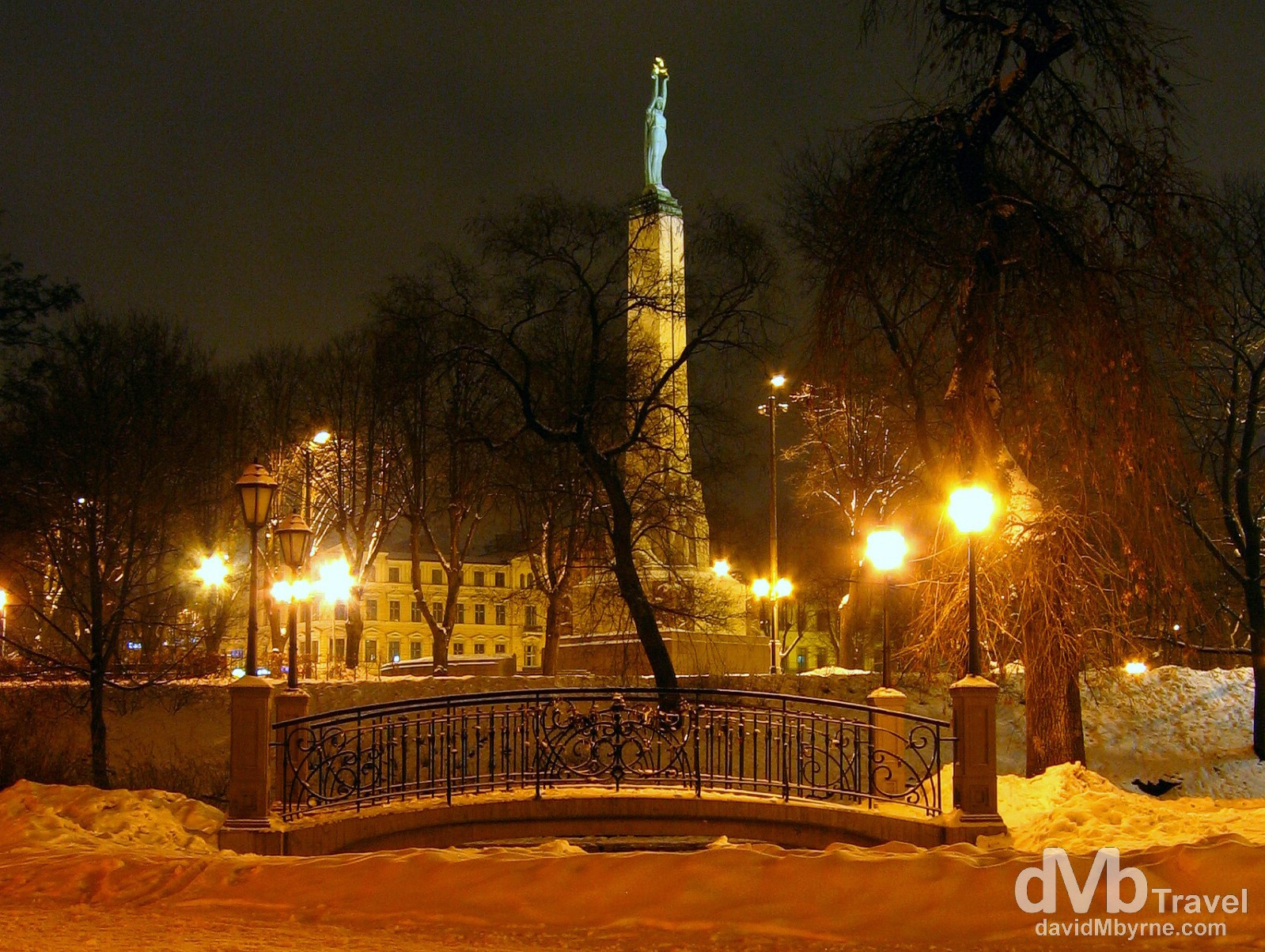 Latvia's Freedom Monument as seen from Bastion Hill, Riga, Latvia. March 2, 2006.