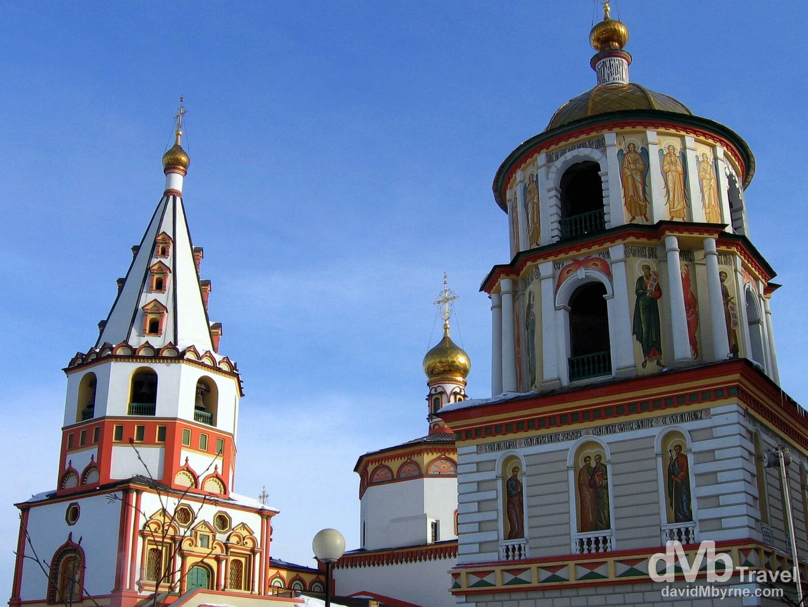 The Bogoyavlensky Cathedral on the banks of the Aangara River in Irkutsk, Siberian Russia. February 18, 2006.
