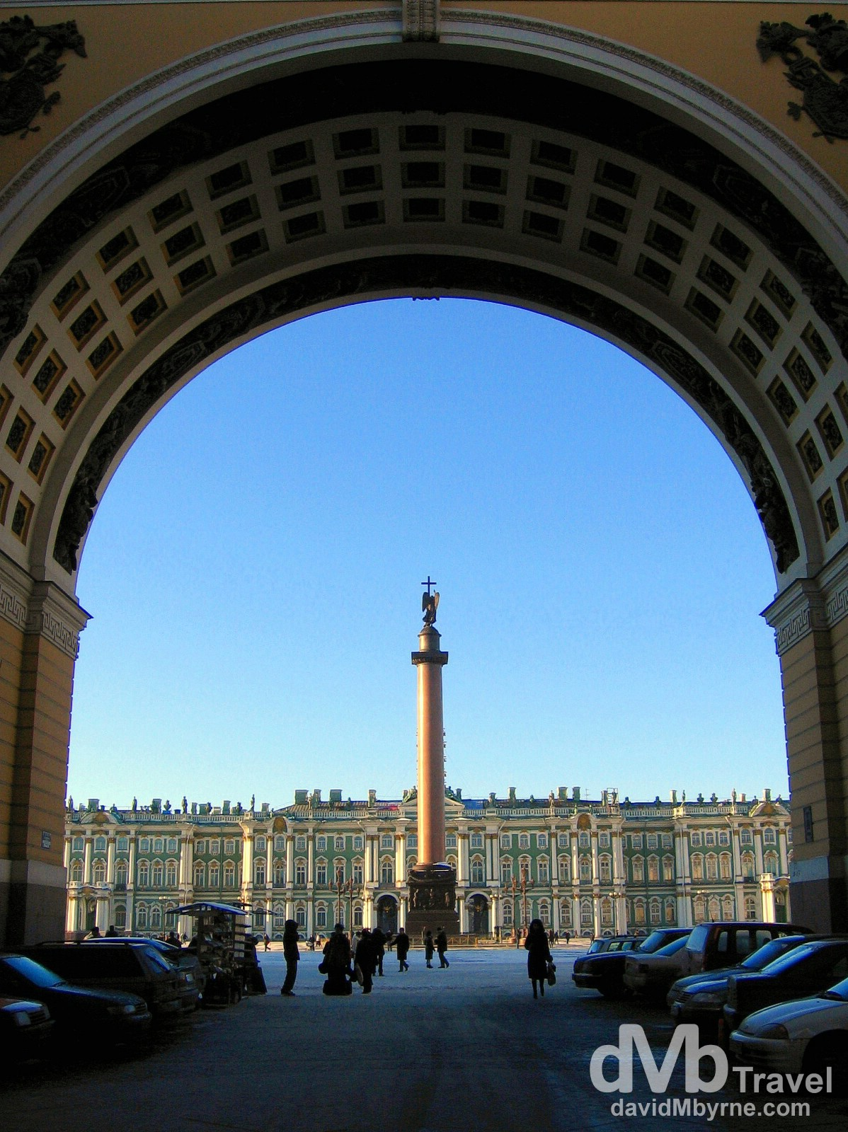 Palace Square as seen from under the arches of the General Staff Building on Bol Morskaya ul in St Petersburg, Russia. February 27, 2006.