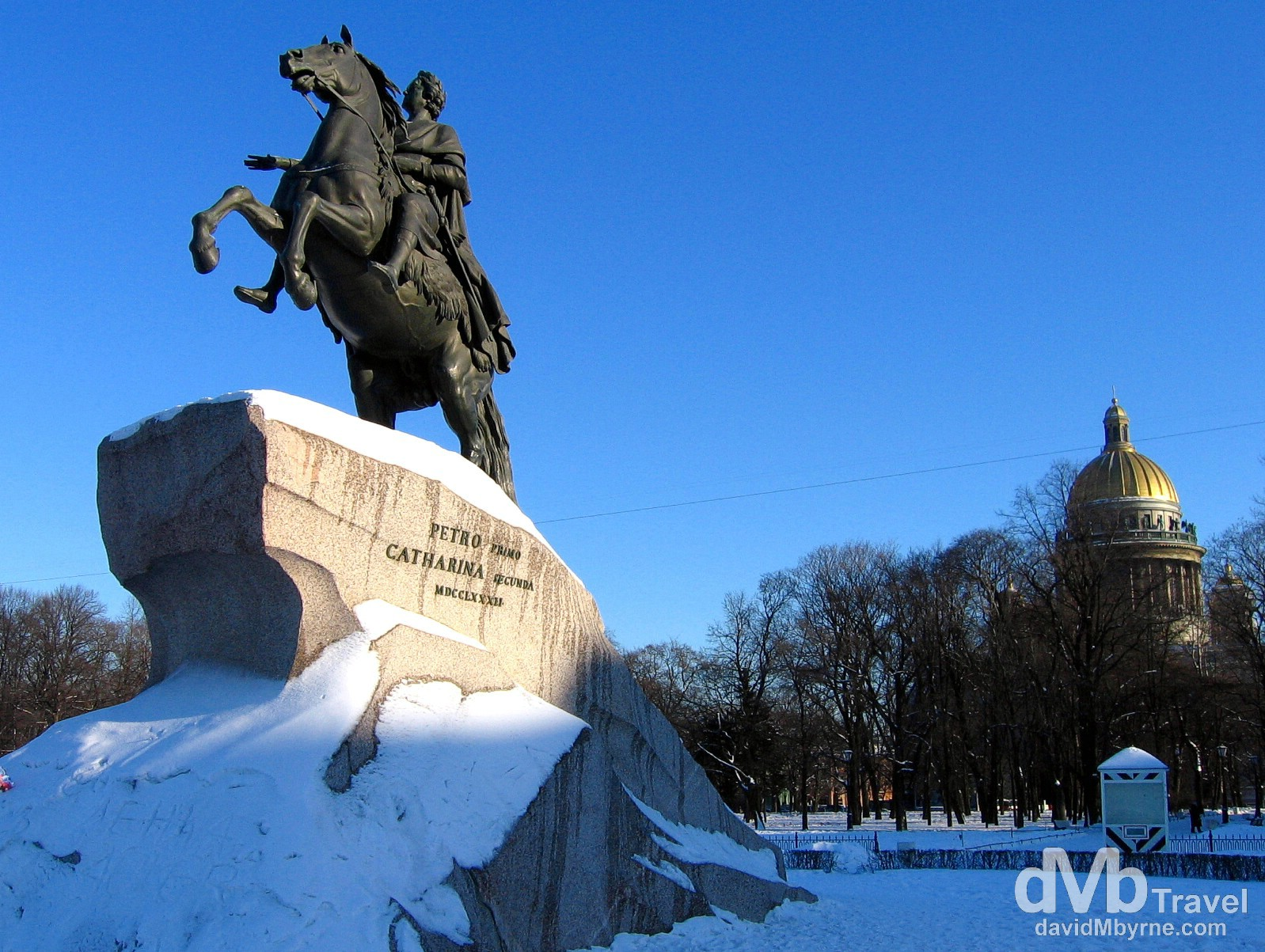 The statue The Bronze Horseman in ploshchad Dekabristov (Decembrists Square) in St Petersburg, Russia. February 27, 2006.