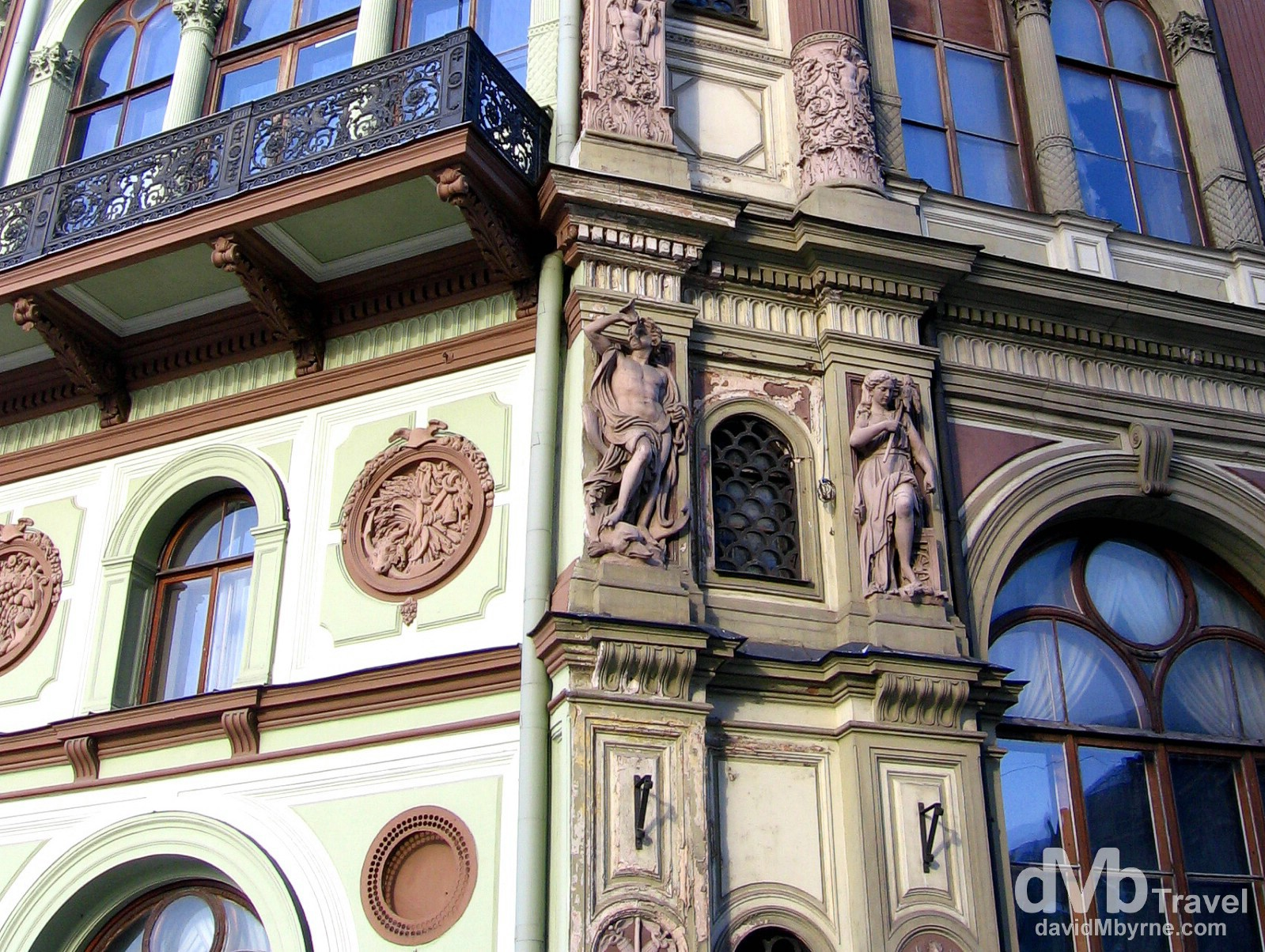 Art Nouveau architecture in the Old Town of Riga, Latvia. March 3, 2006.